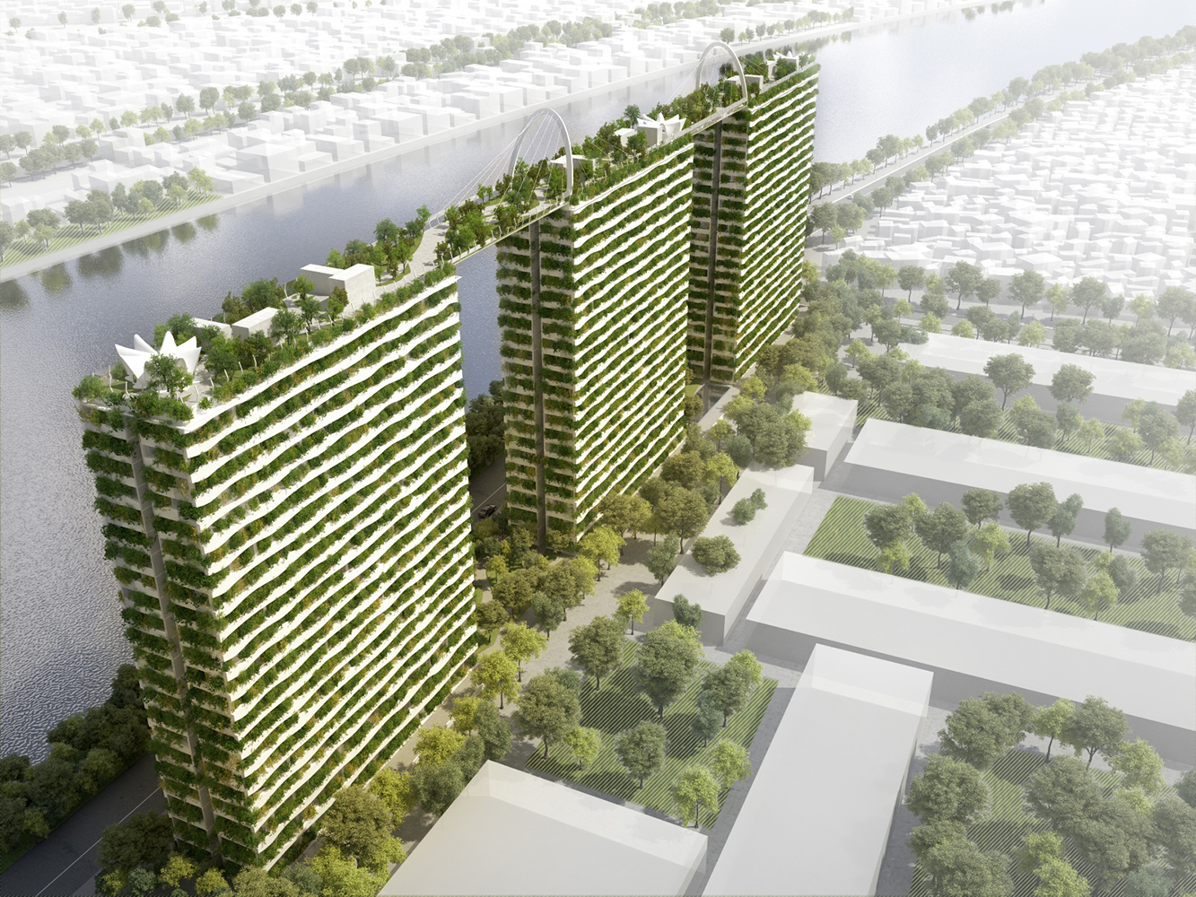 Khmer Exterior Apartment Vo Trong Nghia Architects Diamond Lotus Brings Greenery to Ho Chi Minh City in Cambodia