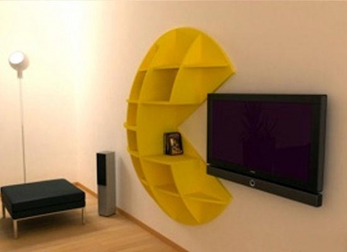 Khmer Interior Living Room Bookcase Inspired by the Pac Man Game in Cambodia