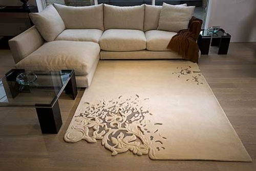 Khmer Interior Living Room Organic Floral Pattern Rug in Cambodia